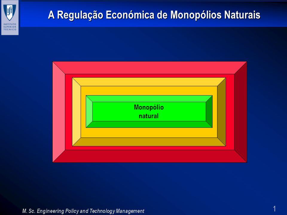 1 A Regulação Económica de Monopólios Naturais M. Sc. Engineering Policy and Technology Management Monopólio natural