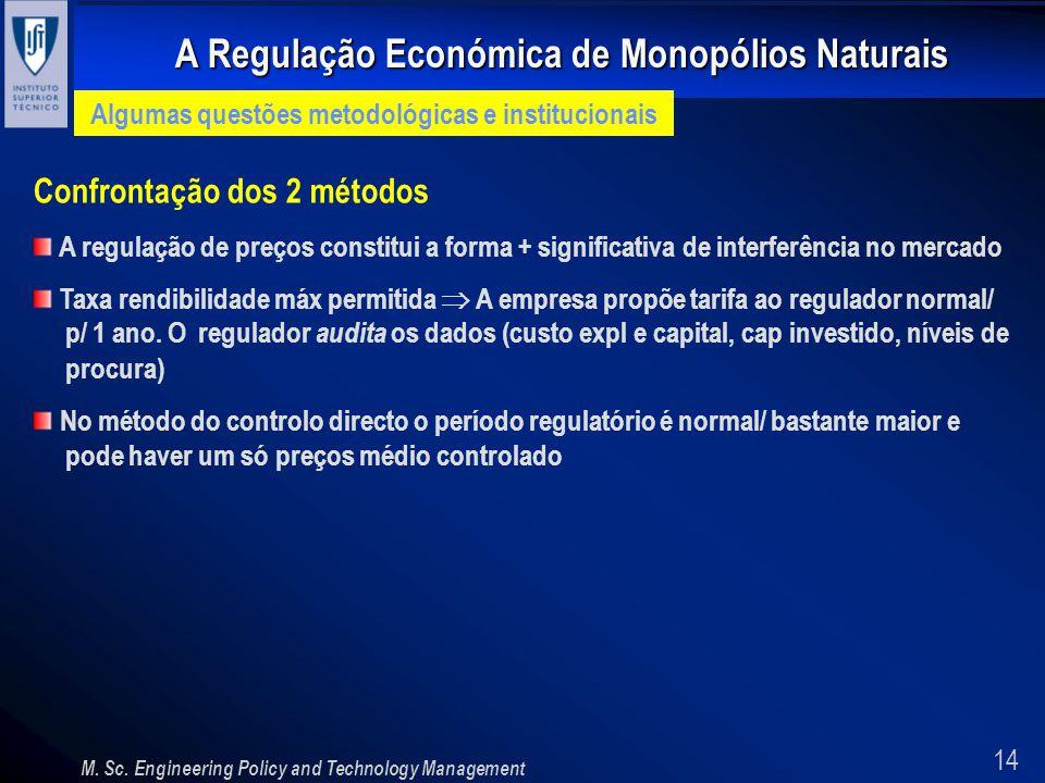 14 A Regulação Económica de Monopólios Naturais M. Sc. Engineering Policy and Technology Management Algumas questões metodológicas e institucionais Co