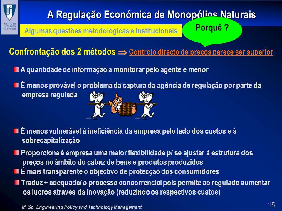 15 A Regulação Económica de Monopólios Naturais M. Sc. Engineering Policy and Technology Management Algumas questões metodológicas e institucionais Co