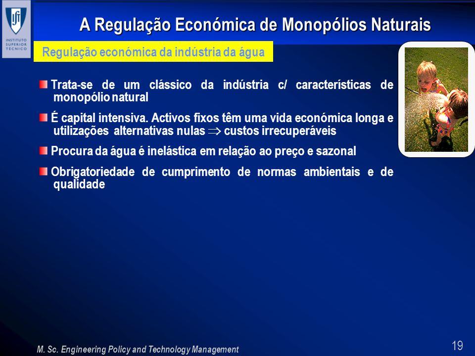 19 A Regulação Económica de Monopólios Naturais M. Sc. Engineering Policy and Technology Management Regulação económica da indústria da água Trata-se