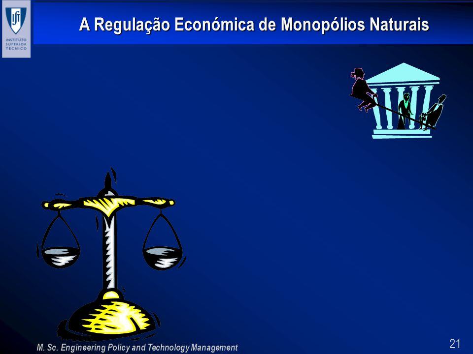 21 A Regulação Económica de Monopólios Naturais M. Sc. Engineering Policy and Technology Management