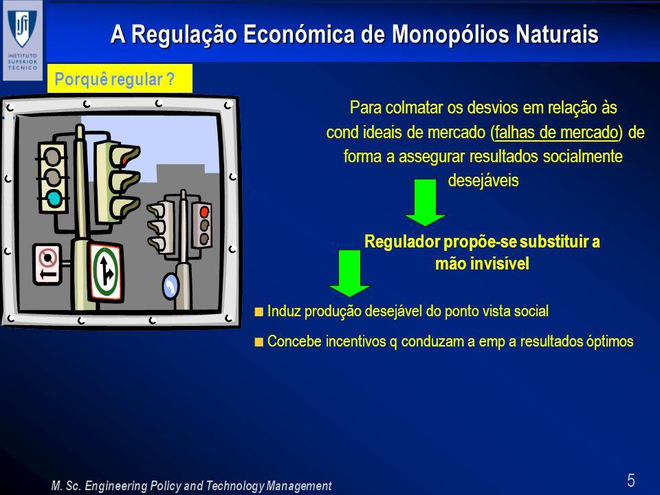 5 A Regulação Económica de Monopólios Naturais M. Sc. Engineering Policy and Technology Management Porquê regular ? Para colmatar os desvios em relaçã