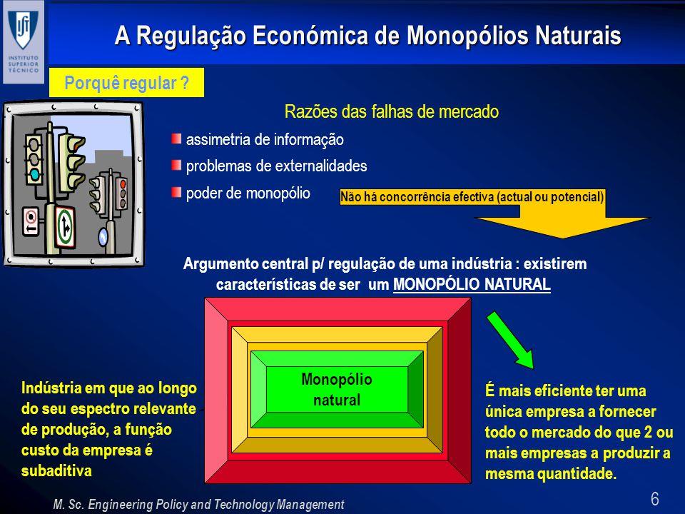 6 A Regulação Económica de Monopólios Naturais M. Sc. Engineering Policy and Technology Management Porquê regular ? Razões das falhas de mercado assim