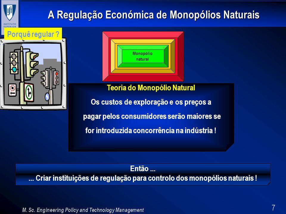 7 A Regulação Económica de Monopólios Naturais M. Sc. Engineering Policy and Technology Management Porquê regular ? Monopólio natural Teoria do Monopó