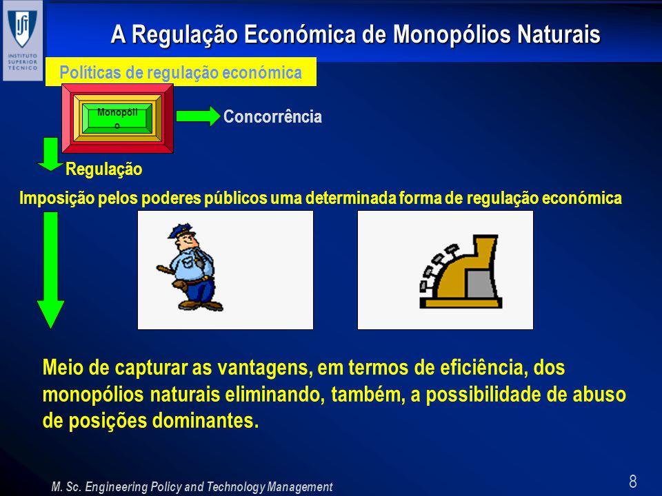 8 A Regulação Económica de Monopólios Naturais M. Sc. Engineering Policy and Technology Management Políticas de regulação económica Concorrência Regul