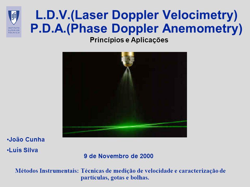 Métodos Instrumentais: Técnicas de medição de velocidade e caracterização de partículas, gotas e bolhas. L.D.V.(Laser Doppler Velocimetry) P.D.A.(Phas
