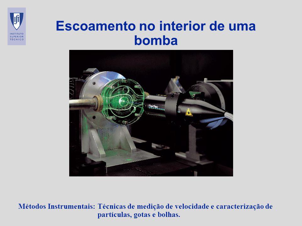 Métodos Instrumentais: Técnicas de medição de velocidade e caracterização de partículas, gotas e bolhas. Escoamento no interior de uma bomba