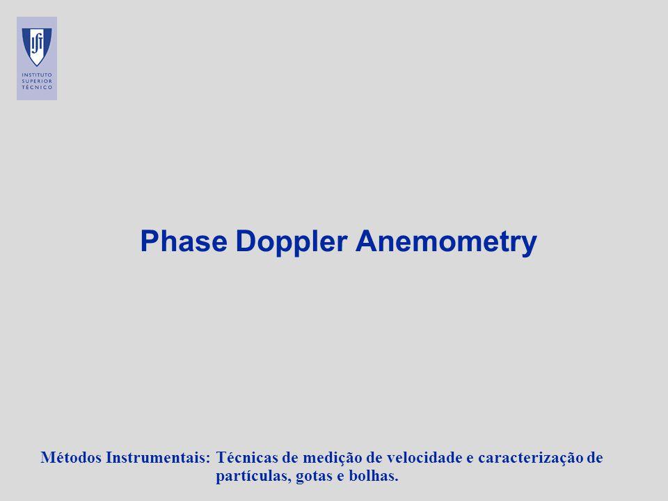 Métodos Instrumentais: Técnicas de medição de velocidade e caracterização de partículas, gotas e bolhas. Phase Doppler Anemometry