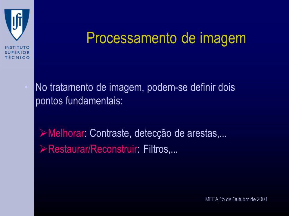 MEEA,15 de Outubro de 2001 Frequência de amostragem Número de onda: frequência espacial K Frequência de amostragem (nº de pixels/ x) K P Se K P < 2,7.K (teorema de Nyquist) obtém-se uma imagem: O número de pixels utilizado é insuficiente para garantir uma amostragem que reproduza a gama de números de onda espaciais.