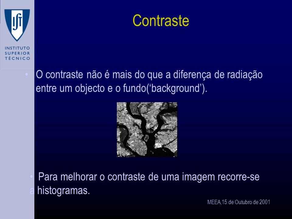 MEEA,15 de Outubro de 2001 Histogramas A olho nu não é possivel estimar a homogeneidade de uma área iluminada.