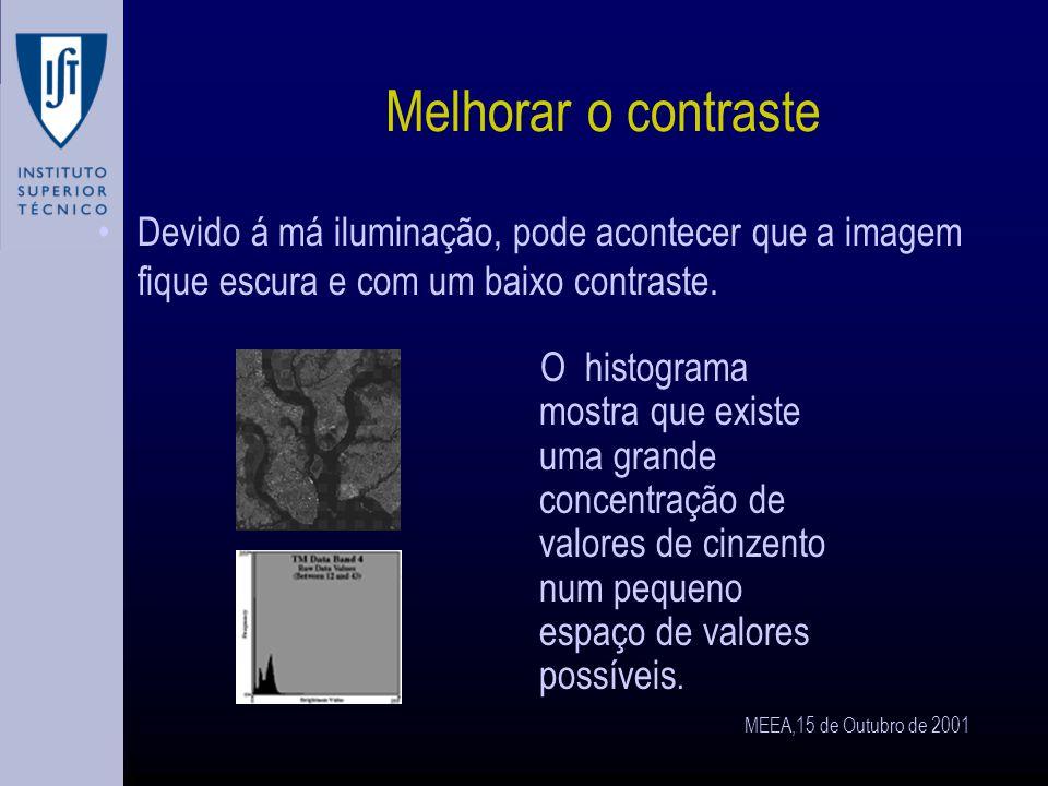 MEEA,15 de Outubro de 2001 Contraste O contraste não é mais do que a diferença de radiação entre um objecto e o fundo(background).