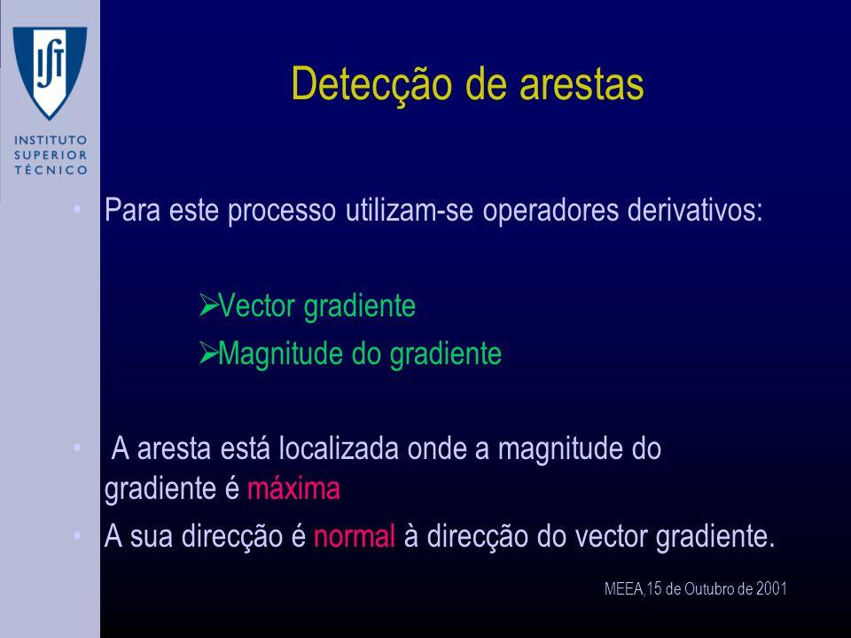 MEEA,15 de Outubro de 2001 Detecção de arestas A deteção de arestas requer uma operação de filtragem que realça a variação de cinzentos.