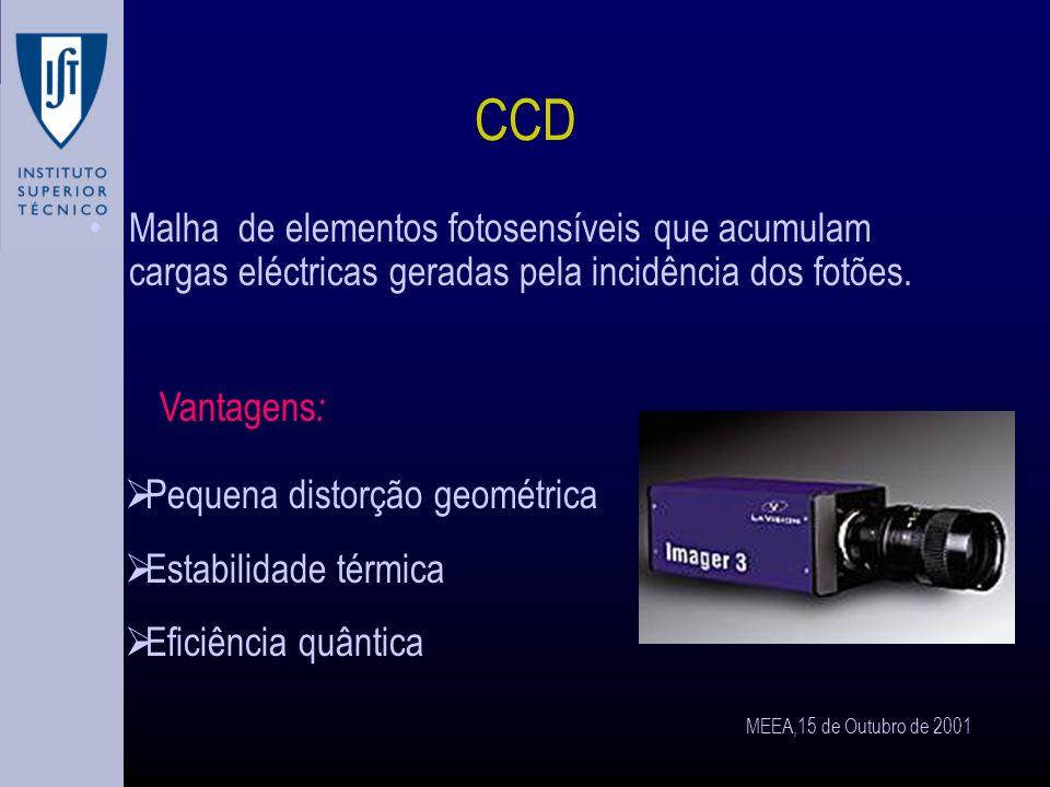 MEEA,15 de Outubro de 2001 Aquisição de imagem As imagens têm que ser obtidas sob a forma de sinais eléctricos: Câmaras de vídeo CCD Vidicons