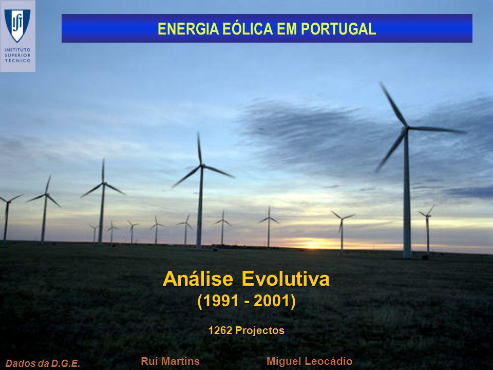 ENERGIA EÓLICA EM PORTUGAL Dados da D.G.E. Análise Evolutiva (1991 - 2001) Miguel Leocádio Rui Martins 1262 Projectos