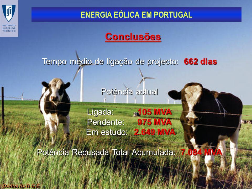 ENERGIA EÓLICA EM PORTUGAL Dados da D.G.E. Conclusões Tempo médio de ligação de projecto: 662 dias Potência actual Ligada:105 MVA Pendente:975 MVA Em