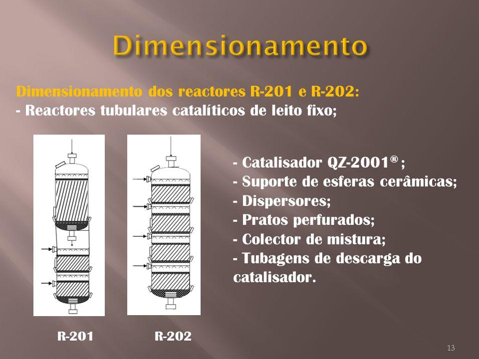 Dimensionamento dos reactores R-201 e R-202: - Reactores tubulares catalíticos de leito fixo; R-201R-202 - Catalisador QZ-2001 ® ; - Suporte de esfera