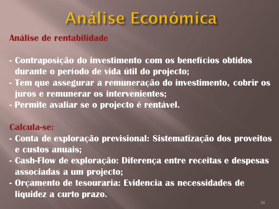 Análise de rentabilidade -Contraposição do investimento com os benefícios obtidos durante o período de vida útil do projecto; -Tem que assegurar a rem