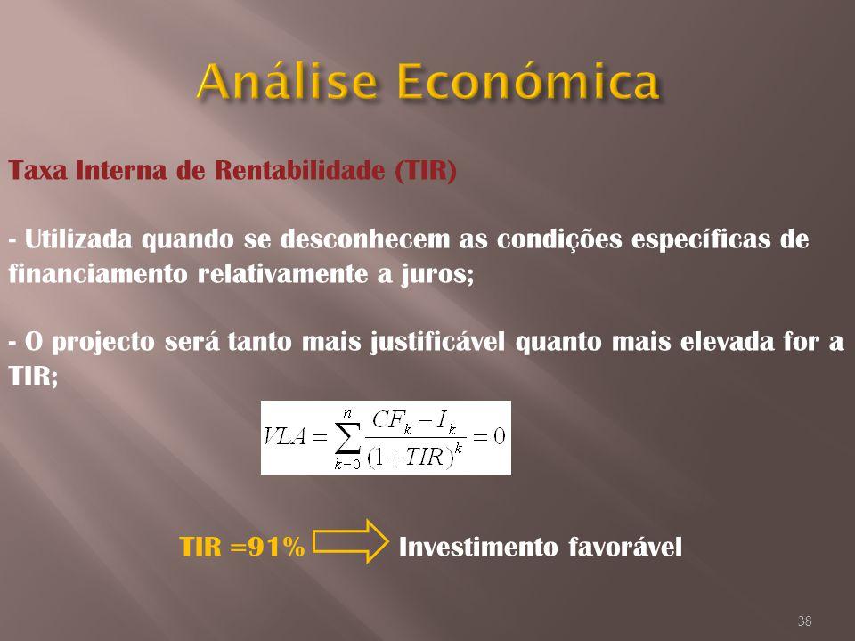 Taxa Interna de Rentabilidade (TIR) - Utilizada quando se desconhecem as condições específicas de financiamento relativamente a juros; - O projecto se