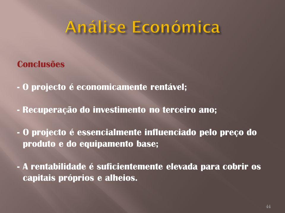 Conclusões - O projecto é economicamente rentável; - Recuperação do investimento no terceiro ano; -O projecto é essencialmente influenciado pelo preço