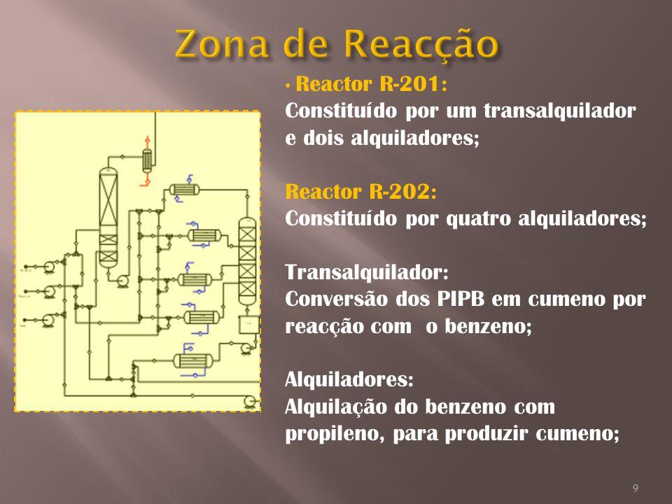 Reactor R-201: Constituído por um transalquilador e dois alquiladores; Reactor R-202: Constituído por quatro alquiladores; Transalquilador: Conversão