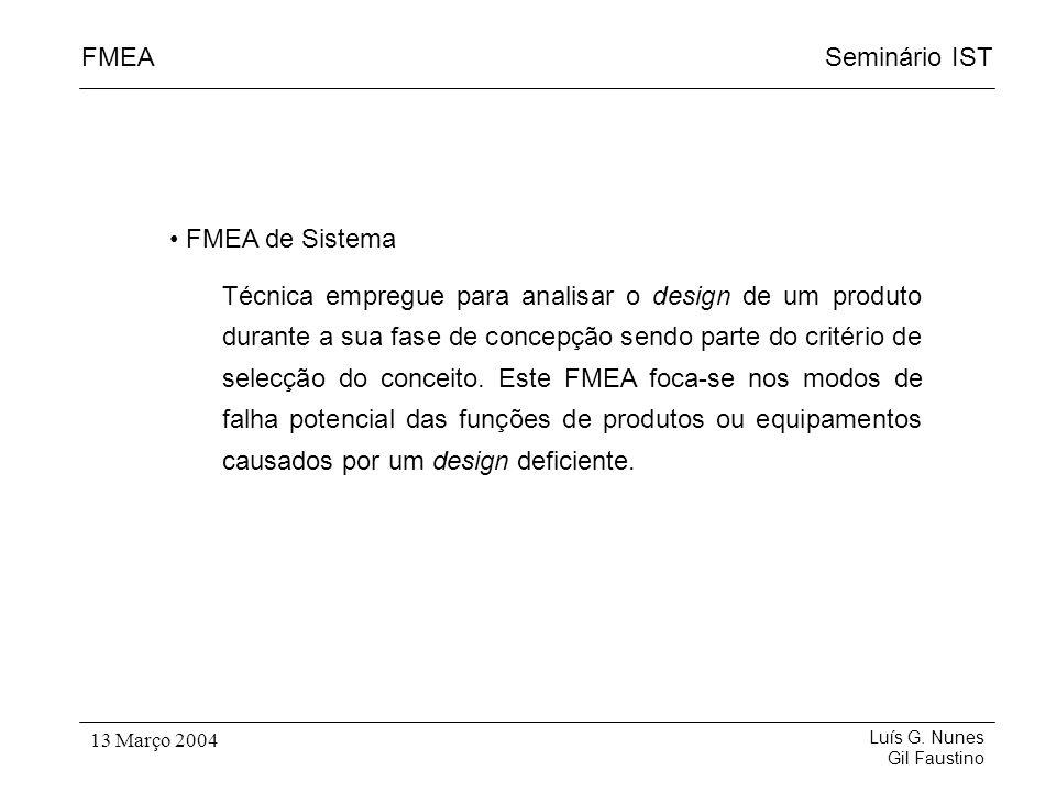 Seminário ISTFMEA Luís G. Nunes Gil Faustino 13 Março 2004 FMEA de Sistema Técnica empregue para analisar o design de um produto durante a sua fase de