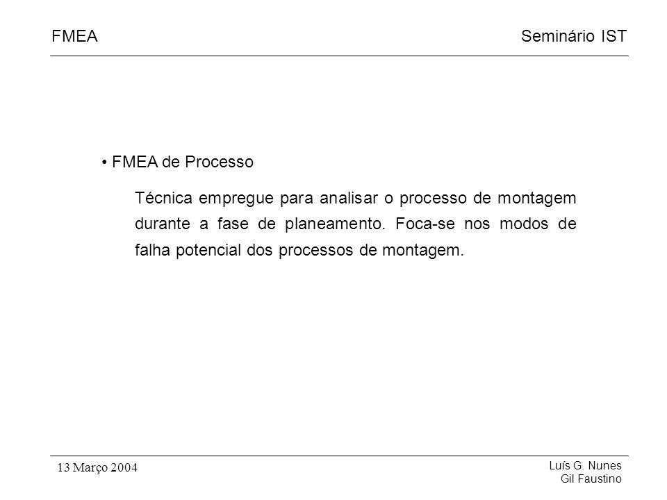 Seminário ISTFMEA Luís G. Nunes Gil Faustino 13 Março 2004 FMEA de Processo Técnica empregue para analisar o processo de montagem durante a fase de pl