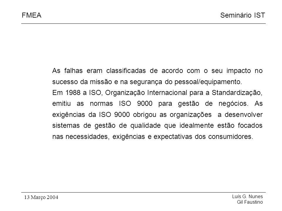 Seminário ISTFMEA Luís G. Nunes Gil Faustino 13 Março 2004 As falhas eram classificadas de acordo com o seu impacto no sucesso da missão e na seguranç