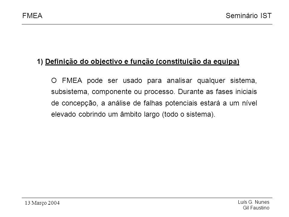 Seminário ISTFMEA Luís G. Nunes Gil Faustino 13 Março 2004 1) Definição do objectivo e função (constituição da equipa) O FMEA pode ser usado para anal