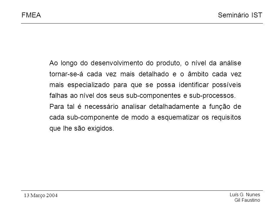 Seminário ISTFMEA Luís G. Nunes Gil Faustino 13 Março 2004 Ao longo do desenvolvimento do produto, o nível da análise tornar-se-á cada vez mais detalh