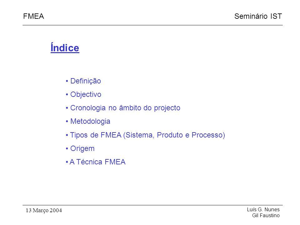 Seminário ISTFMEA Luís G. Nunes Gil Faustino 13 Março 2004 Índice Definição Objectivo Cronologia no âmbito do projecto Metodologia Tipos de FMEA (Sist