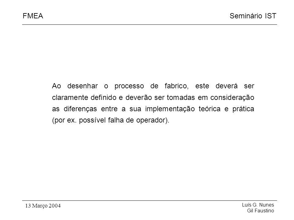 Seminário ISTFMEA Luís G. Nunes Gil Faustino 13 Março 2004 Ao desenhar o processo de fabrico, este deverá ser claramente definido e deverão ser tomada