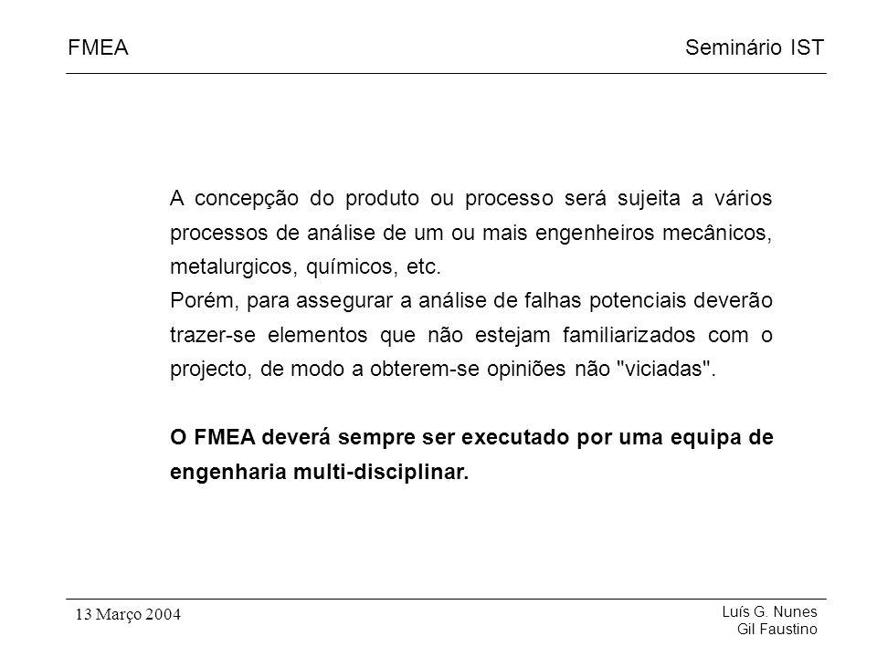 Seminário ISTFMEA Luís G. Nunes Gil Faustino 13 Março 2004 A concepção do produto ou processo será sujeita a vários processos de análise de um ou mais