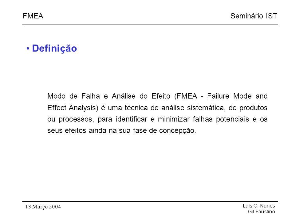 Seminário ISTFMEA Luís G. Nunes Gil Faustino 13 Março 2004 Modo de Falha e Análise do Efeito (FMEA - Failure Mode and Effect Analysis) é uma técnica d