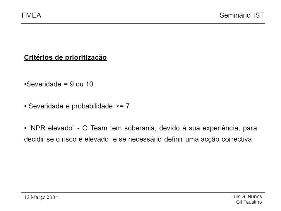 Seminário ISTFMEA Luís G. Nunes Gil Faustino 13 Março 2004 Critérios de prioritização Severidade = 9 ou 10 Severidade e probabilidade >= 7 NPR elevado