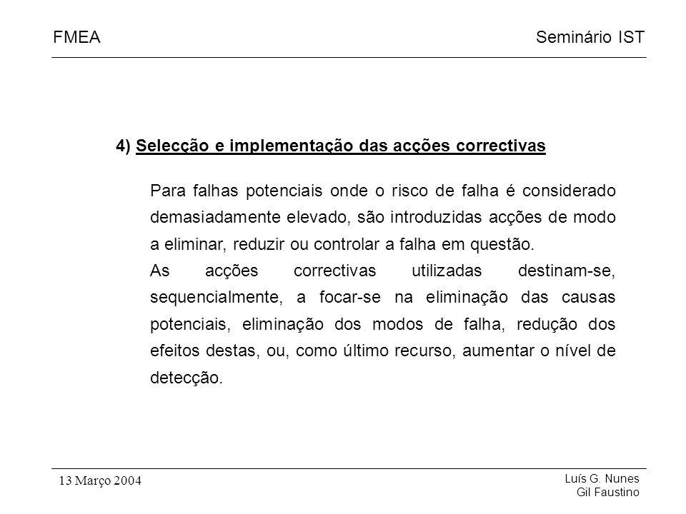 Seminário ISTFMEA Luís G. Nunes Gil Faustino 13 Março 2004 4) Selecção e implementação das acções correctivas Para falhas potenciais onde o risco de f