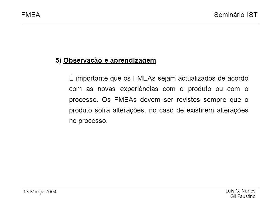 Seminário ISTFMEA Luís G. Nunes Gil Faustino 13 Março 2004 5) Observação e aprendizagem É importante que os FMEAs sejam actualizados de acordo com as