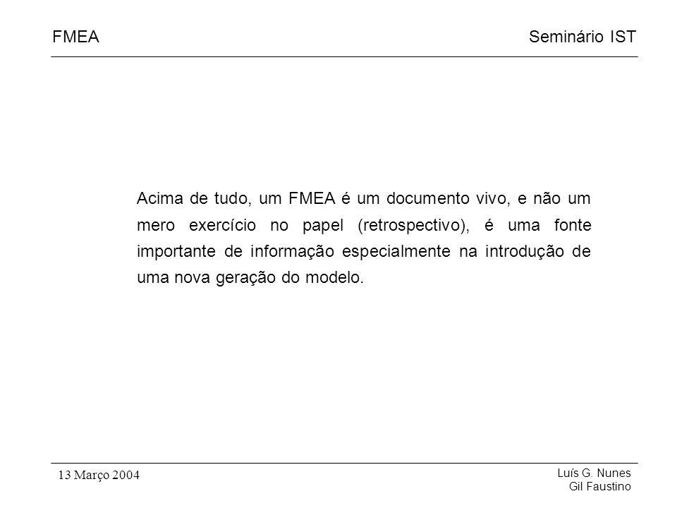 Seminário ISTFMEA Luís G. Nunes Gil Faustino 13 Março 2004 Acima de tudo, um FMEA é um documento vivo, e não um mero exercício no papel (retrospectivo