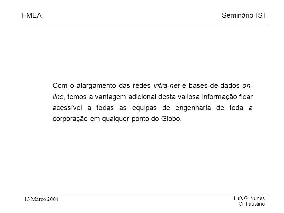 Seminário ISTFMEA Luís G. Nunes Gil Faustino 13 Março 2004 Com o alargamento das redes intra-net e bases-de-dados on- line, temos a vantagem adicional