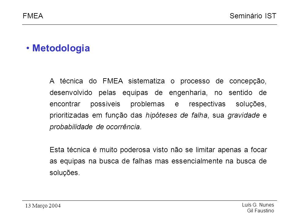 Seminário ISTFMEA Luís G. Nunes Gil Faustino 13 Março 2004 A técnica do FMEA sistematiza o processo de concepção, desenvolvido pelas equipas de engenh