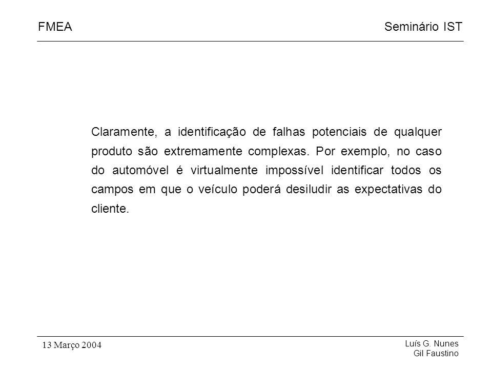 Seminário ISTFMEA Luís G. Nunes Gil Faustino 13 Março 2004 Claramente, a identificação de falhas potenciais de qualquer produto são extremamente compl