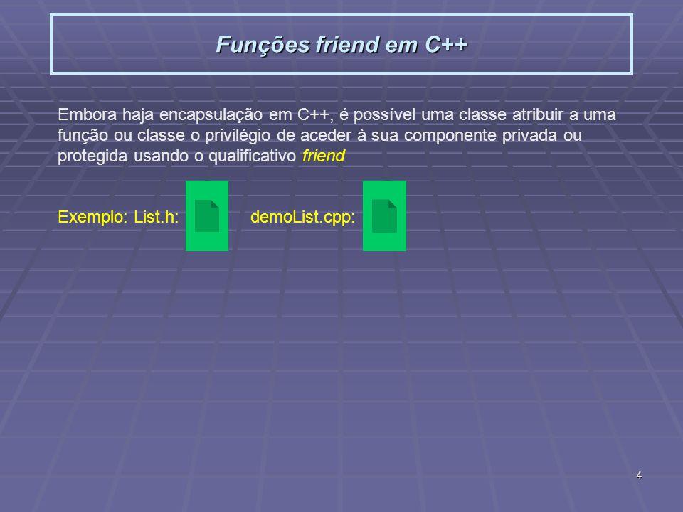 4 Funções friend em C++ Embora haja encapsulação em C++, é possível uma classe atribuir a uma função ou classe o privilégio de aceder à sua componente