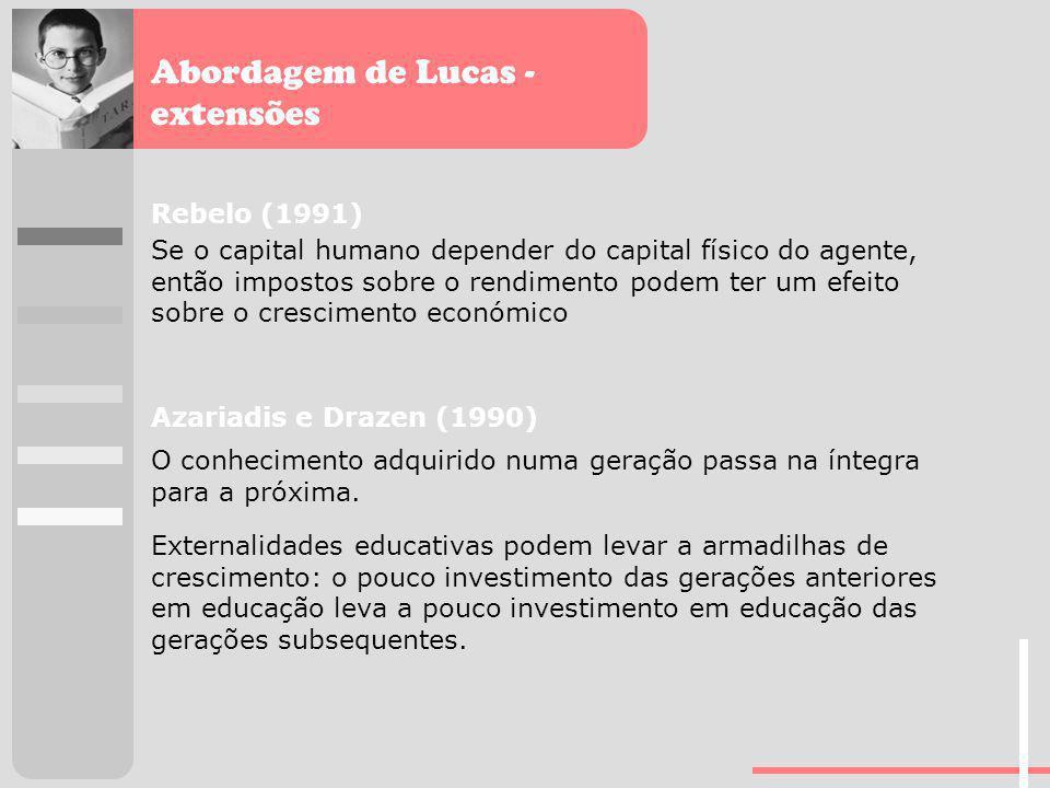 Abordagem de Lucas - extensões Rebelo (1991) Se o capital humano depender do capital físico do agente, então impostos sobre o rendimento podem ter um