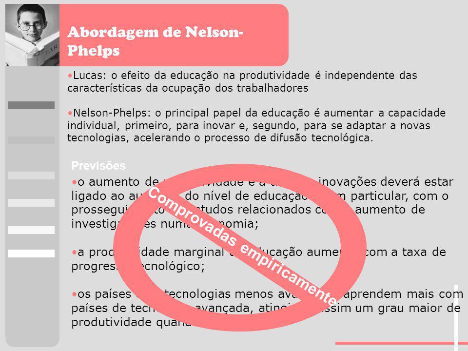 Abordagem de Nelson- Phelps Lucas: o efeito da educação na produtividade é independente das características da ocupação dos trabalhadores Nelson-Phelp