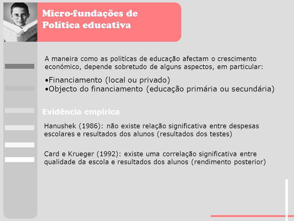 Micro-fundações de Política educativa A maneira como as politícas de educação afectam o crescimento económico, depende sobretudo de alguns aspectos, e