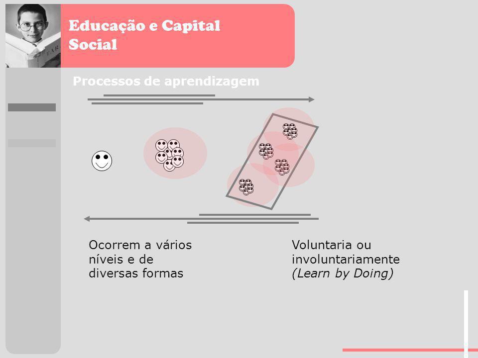 Educação e Capital Social Processos de aprendizagem Ocorrem a vários níveis e de diversas formas Voluntaria ou involuntariamente (Learn by Doing)