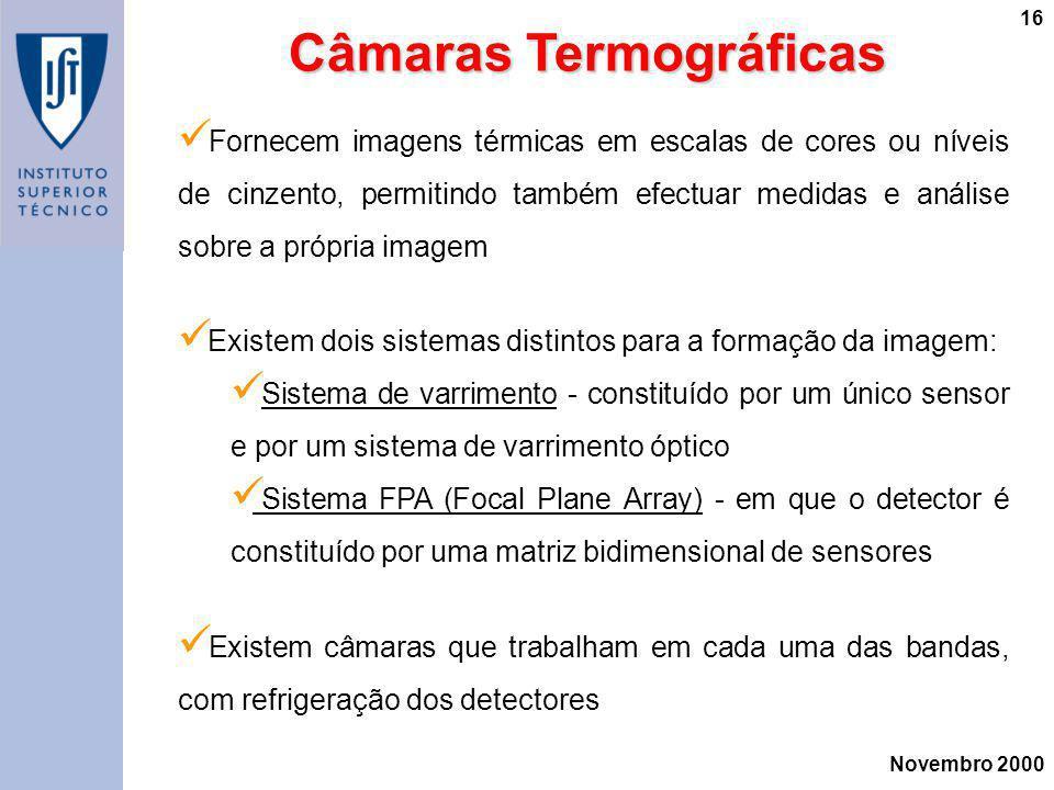 Novembro 2000 16 Câmaras Termográficas Câmaras Termográficas Fornecem imagens térmicas em escalas de cores ou níveis de cinzento, permitindo também ef