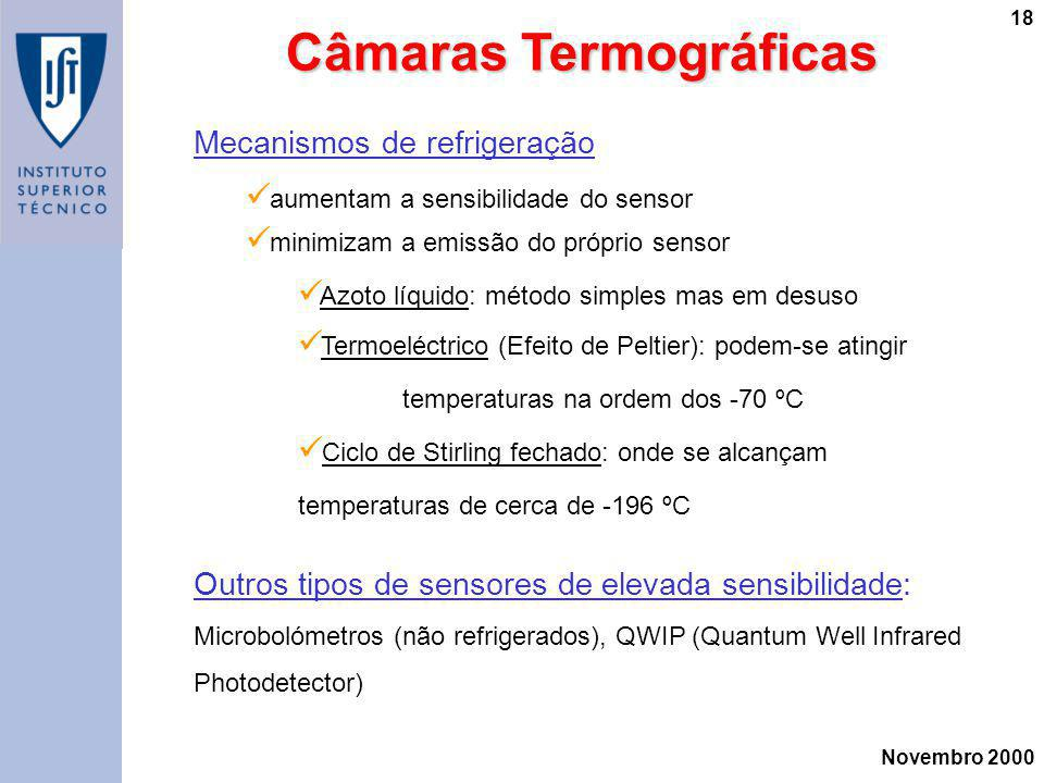 Novembro 2000 18 Mecanismos de refrigeração aumentam a sensibilidade do sensor minimizam a emissão do próprio sensor Azoto líquido: método simples mas