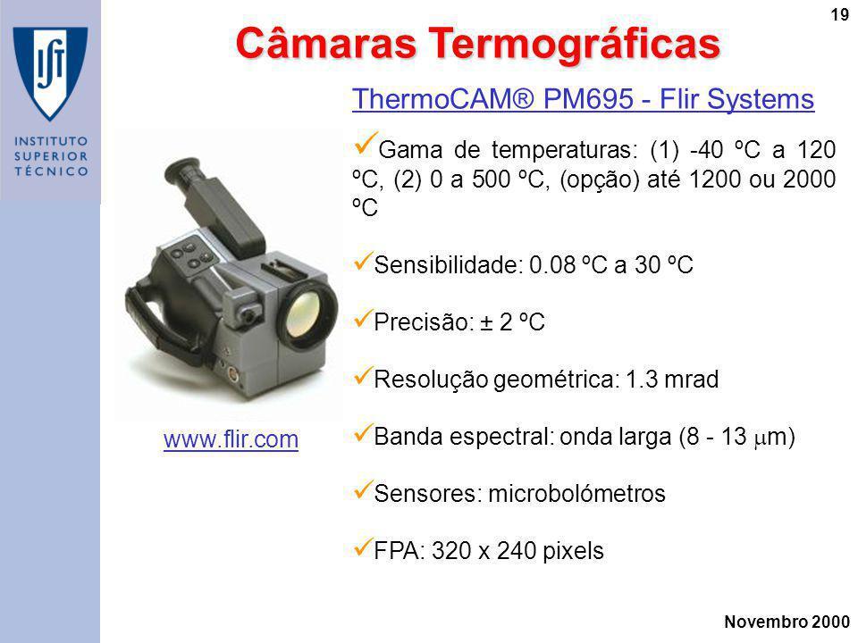 Novembro 2000 19 ThermoCAM® PM695 - Flir Systems Gama de temperaturas: (1) -40 ºC a 120 ºC, (2) 0 a 500 ºC, (opção) até 1200 ou 2000 ºC Sensibilidade: