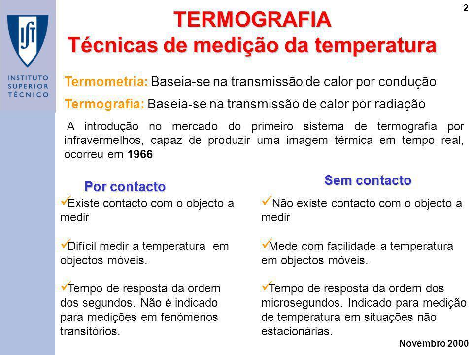 Novembro 2000 2TERMOGRAFIA Técnicas de medição da temperatura Termometria: Baseia-se na transmissão de calor por condução Termografia: Baseia-se na tr