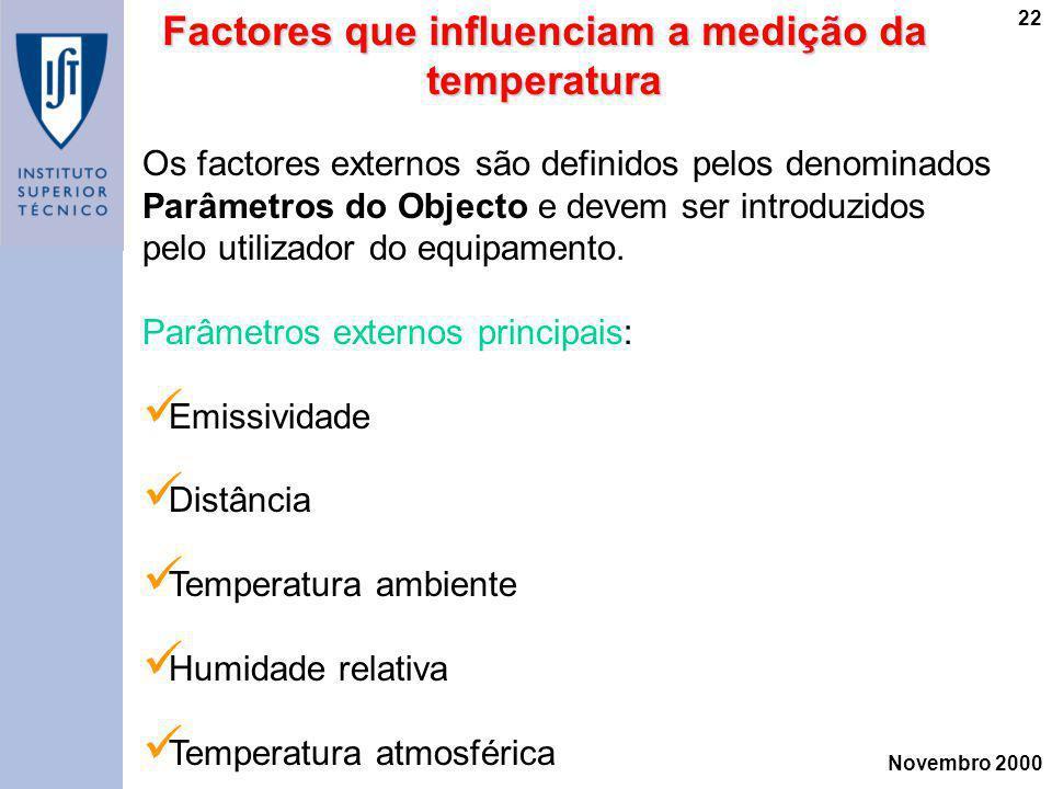 Novembro 2000 22 Factores que influenciam a medição da temperatura Os factores externos são definidos pelos denominados Parâmetros do Objecto e devem